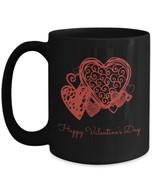 Happy Valentine's Day romantic red hearts gift black ceramic mug 11oz 15oz - $16.88 - $18.88
