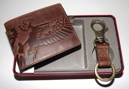NEW FOSSIL MEN'S LEATHER EAGLE BIFOLD CREDIT CARD WALLET WITH KEY FOB SE... - $44.50