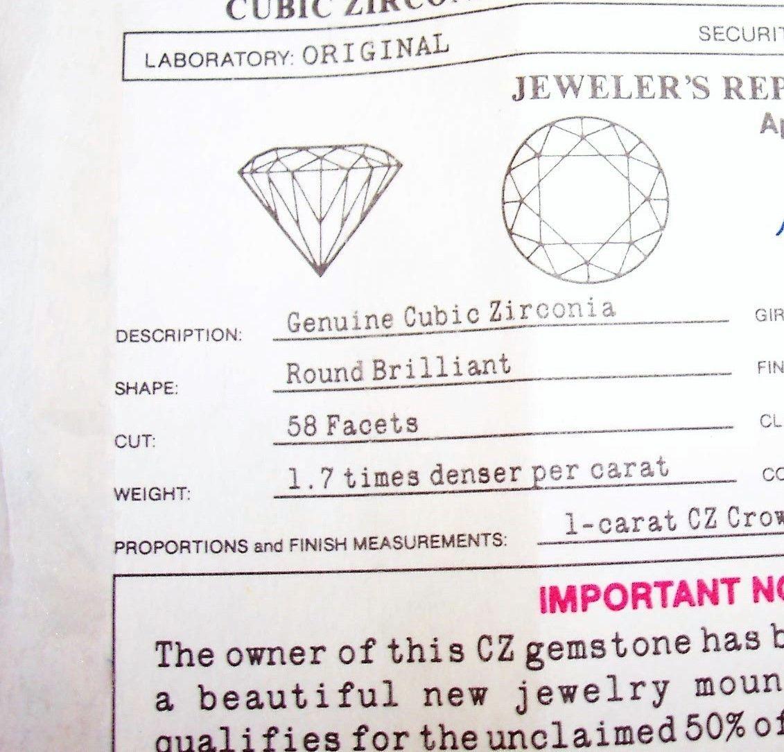 Lindenwold Fine Jewelers 1 Carat loose Cubic Zirconia W/ Certificate & pkg