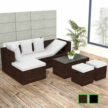 vidaXL Garden Sofa Set Poly Rattan Wicker Corner Couch Furniture Black/B... - $351.99+