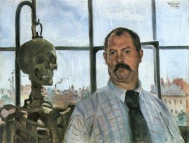 100% Hand Painted Oil on Canvas - Self Portrait with Skeleton by Lovis C... - $315.81