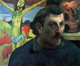 100% Hand Painted Oil on Canvas - Self Portrait with Yellow Christ by Gauguin... - $315.81