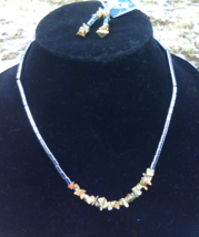 Unakite and Hematite Necklace with Earrings - $15.00
