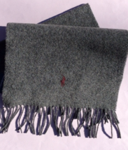 NEW! authentic RALPH LAUREN scarf LAMBSWOOL gray PONY burgundy - £31.10 GBP