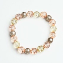 Handmade Beaded Stretch Bracelet Rose Gold Pink Yellow Handcrafted Jewelry Gift - $14.99