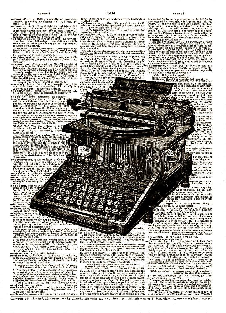 Antique TYPEWRITER Vintage Dictionary Art Print No. 0039