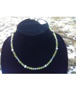 """Green Crystal Necklace wirh Earrings 20"""" - $20.00"""