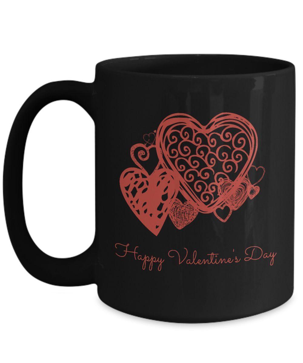 Happy Valentine's Day romantic red hearts gift black ceramic mug 11oz 15oz