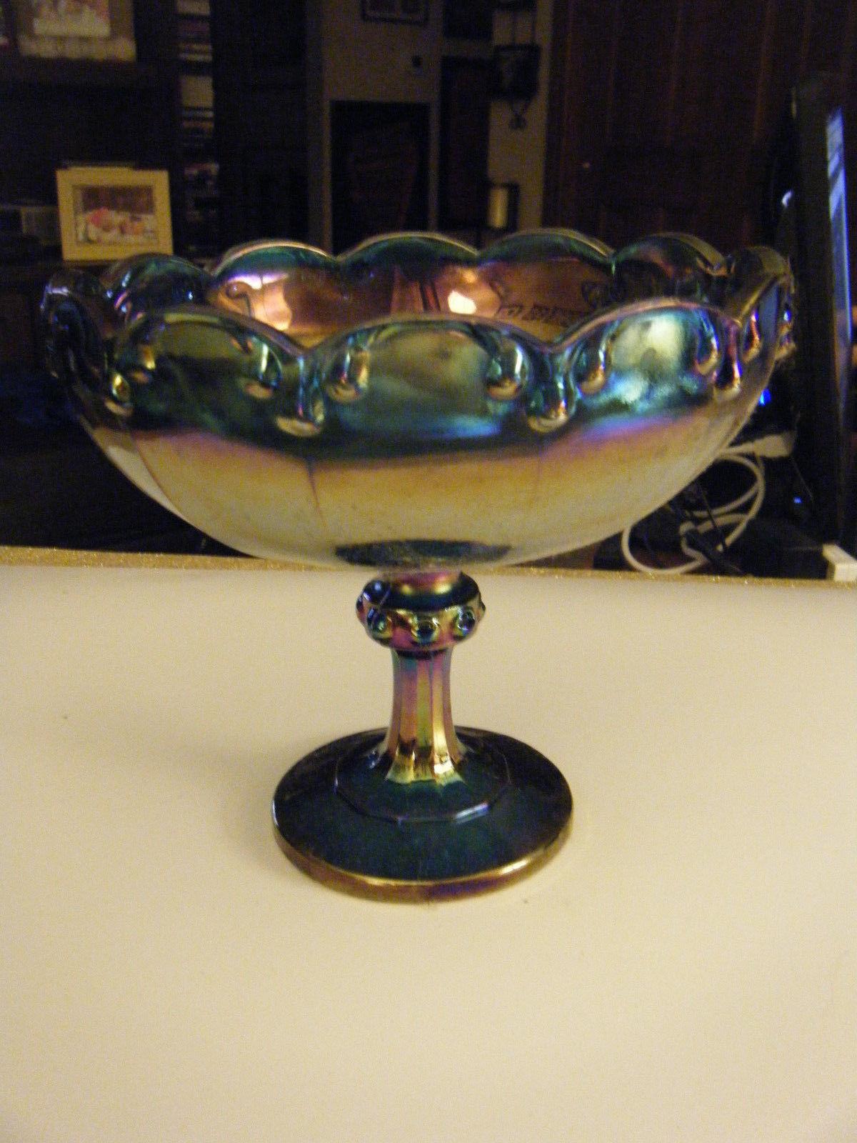 Vintage Carnival Glass Harvest Grapes Blue Iridescent Footed Fruit Serving Bowl