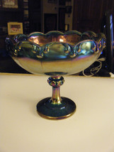 Vintage Carnival Glass Harvest Grapes Blue Iridescent Footed Fruit Servi... - $46.16