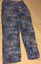 JM Collection Blue White Geometric Pull On Elastic Waist Casual Pants Petite PM - $26.39