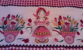 Vintage Cotton Dutch Girl With Tulips Checkered Hand Sewn Pillow Case - $6.50