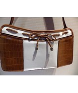 BUENO Spectator Style Shoulder Bag Brown Moc Croc & White - $17.42