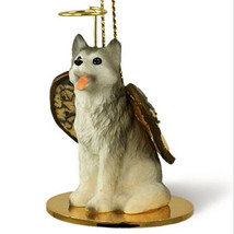 SIBERIAN HUSKY GRAY WHITE BROWN EYE ANGEL DOG CHRISTMAS ORNAMENT Figurine - $12.38