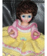 Vintage Bed Doll Crochet Yellow Pink Green White Dress Brown Hair Blue E... - $24.97