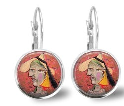 Pablo Picasso Famous Art Earrings  Silver Plated Leverback Handmade - $10.95
