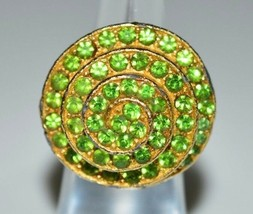 VTG Gold Tone Filled Plated Green Rhinestone Large Swirl Cocktail Ring Size 5 - $39.60