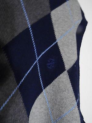 Men IZOD  Knit Sweater  Vest X Large XL Argyle Navy Blue Gray 100% Cotton