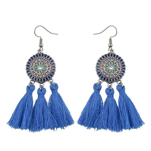 Sunflower Tassel Statement Earrings
