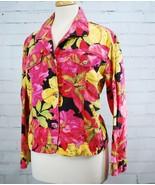 Chico's Linen/Cotton Casual Pink Floral Jean Shirt / Jacket Women's Medi... - $24.74