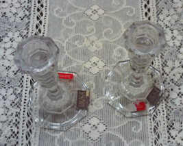 Vintage Mikasa Colonnade Cut Crystal Candle Holders Taper Candle Holders - $13.50