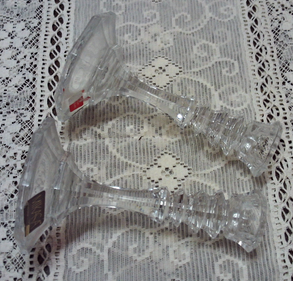 Vintage Mikasa Colonnade Cut Crystal Candle Holders Taper Candle Holders