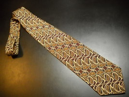 Joseph Abboud Neck Tie Imported Italian Silk Large Paisley in Golds and Browns - $12.99
