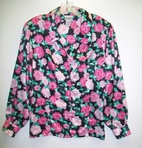 Black Pink Floral Long Sleeve Blouse-Size 12 - $17.99