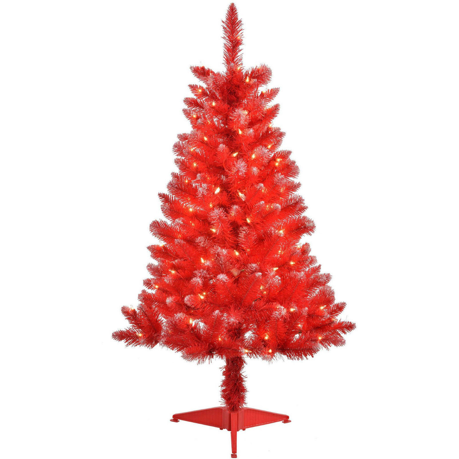 Holiday Time 4FT Pre-Lit 150 Clear Light Artificial RED Christmas Tree 48inch - Artificial ...