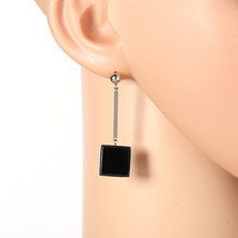 Stylish Silver Tone Designer Drop Earrings, Jet Black Inlay & Dangling S... - $17.99