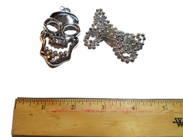 Pirate Silver Skull Necklace * Puppet Accessory - $4.88