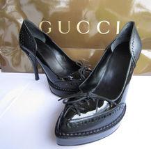 GUCCI Black Riddle Leather Platform Heels Pumps 36 / 6 *NEW* $850 - $399.00