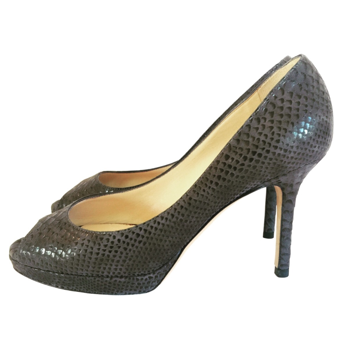 035c9a78772 Jimmy Choo Gray Snakeskin Peep Toes Platform and 50 similar items