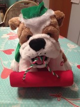 Vintage ANIMATED CHRISTMAS Puppy Dog On Sled Plays Hark The Herald Puppy... - $34.99