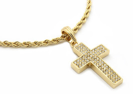 """Mens 14k Gold Plated Thick Cz Cross Pendant Hip-Hop 24"""" Rope Necklace Ch... - £9.93 GBP"""