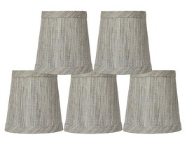 Urbanest Set of 5 Linen Mini Chandelier Lamp Shade, 3-inch by 4-inch by ... - $29.69