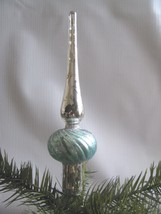 "Mercury Glass Tree Topper Silver Aqua Spire 6"" - $18.76"