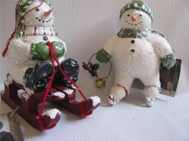 2 Snowmen Winter Frolic Ice Skating and Sledding Christmas Ornaments - $29.69