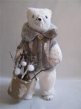 Polar Bear Winter Figure Papier Mache Dressed  Jacket  with Twigs Snowballs - $21.73