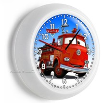 Cars Red Fire Truck Wall Clock Boys Bedroom Baby Boy Nursery Room Art Home Decor - $23.39