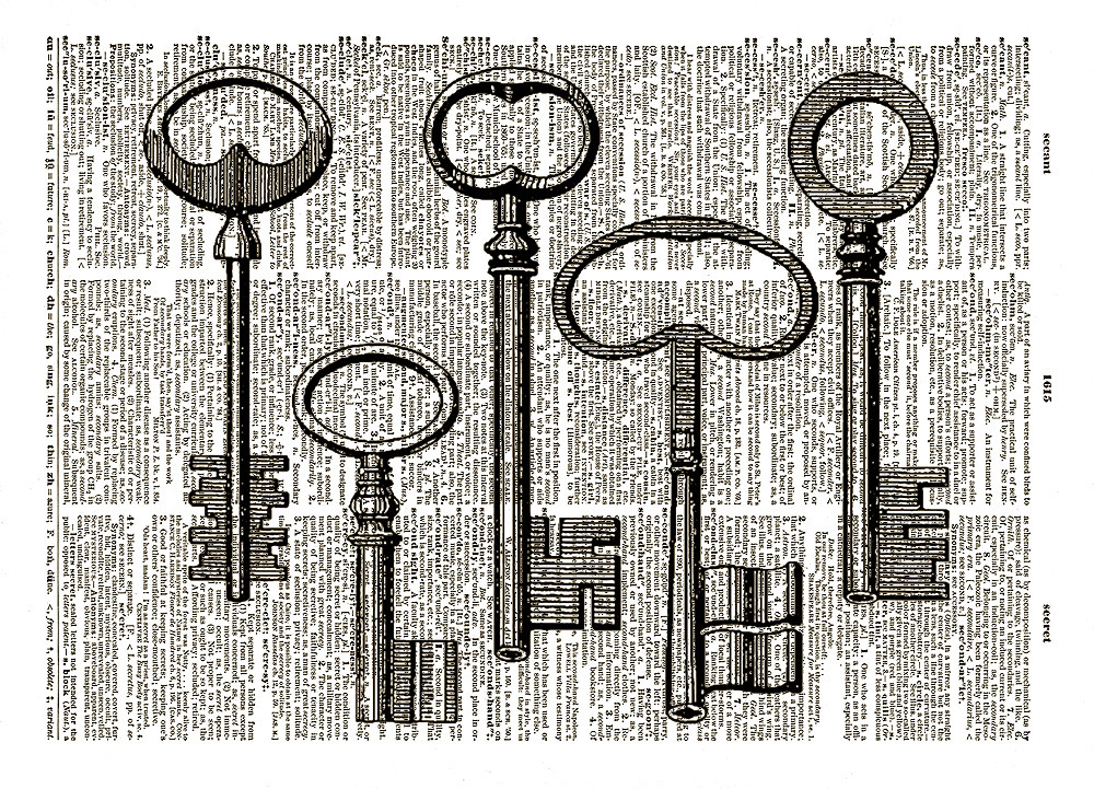 Five Antique KEYS Black and White Vintage Dictionary Page Art Print No. 0050