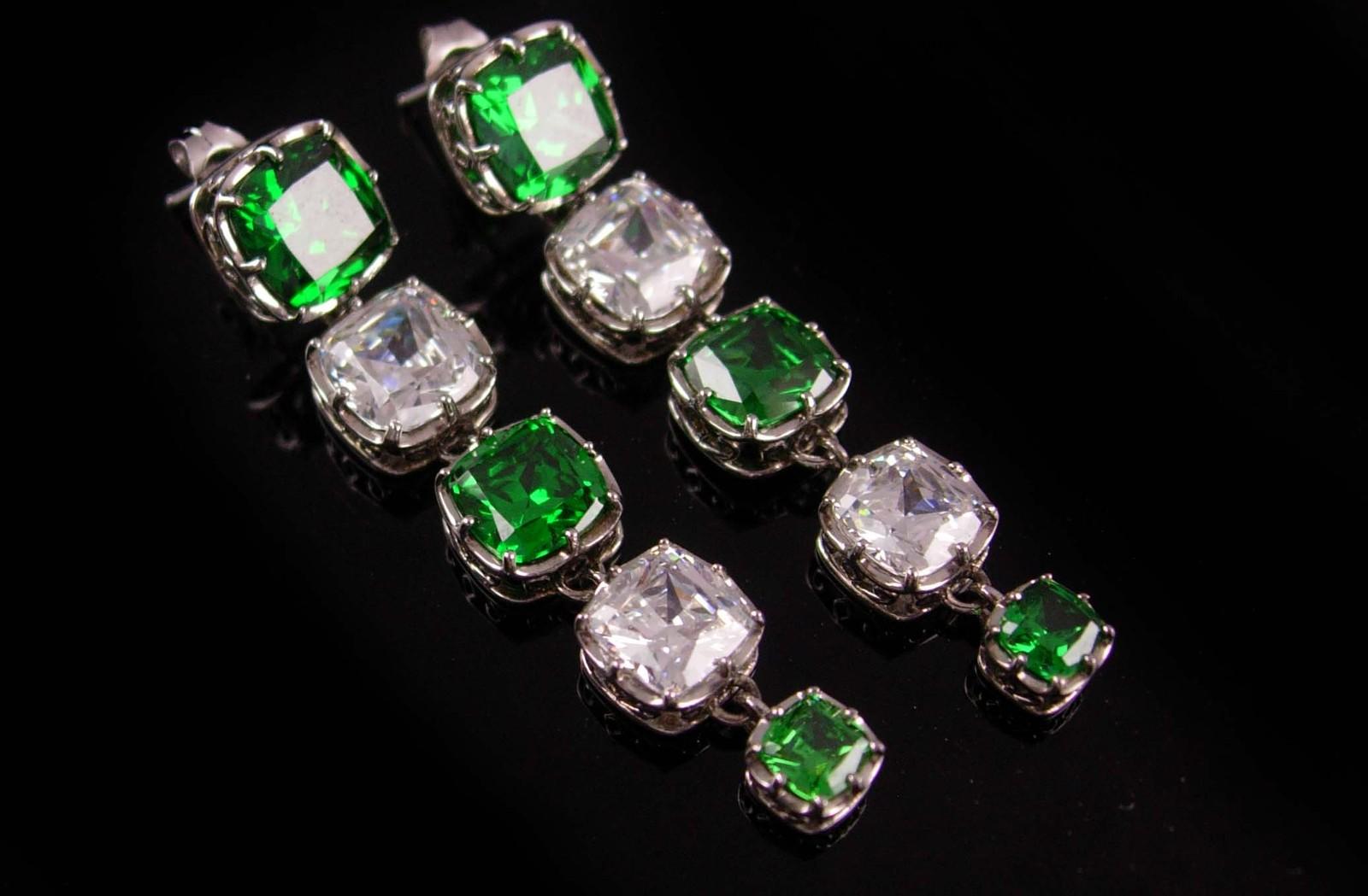 """Jean Dousset absolute emerald earrings -  Sterling 2"""" long - dangle drop set - i - $145.00"""