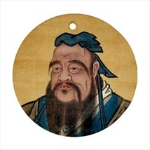 Confucius Round Ornament w/ Ribbon Hanger - $7.38