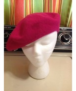 Hot Pink Artists Hat Beret Cap Painter Mary Tyler Moore Show French Wool - $9.49