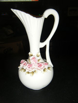 Porcelain Bisque Pink Rose Embellished Decorative Pitcher - Japan - $10.88
