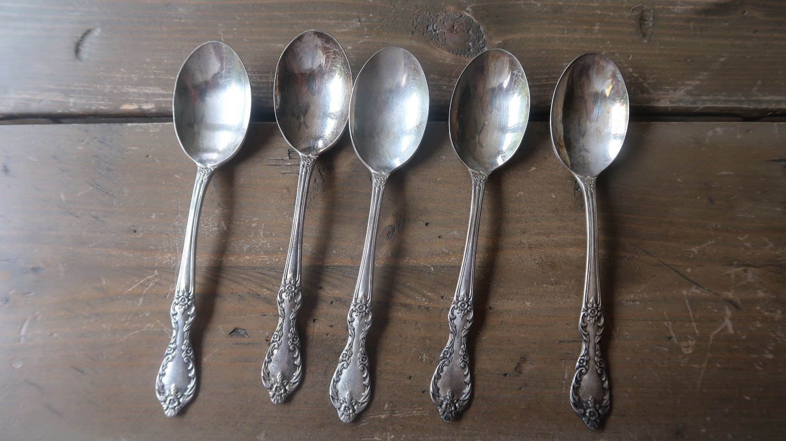 Primary image for Vintage Silverplate Rogers 1959 Grand Elegance Teaspoon 6 inches Set of 5