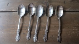 Vintage Silverplate Rogers 1959 Grand Elegance Teaspoon 6 inches Set of 5 - $39.60