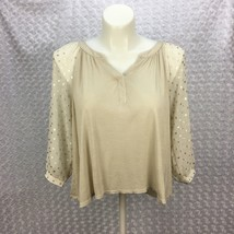 Pins and Needles Cream Flowy Top w Sheer Puffy Longsleeves Gold Dots But... - $13.09