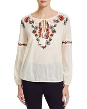Tory Burch Tunic Ivory Cotton Embroidered Peasant Tunic - NWT Size 6 - $78.21