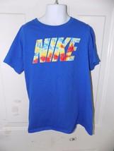 Nike The Nike Tee Thermal Print Blue Shirt Size M Boy's Euc - $29.99